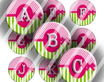 "Alphabet Initials Digital Collage Sheet - 1"" Digital Bottle Cap Images"
