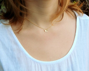Small gold butterfly charm necklace, tiny butterfly necklace 14 kt gold filled chain butterfly charm necklace minimalist simple necklace 164