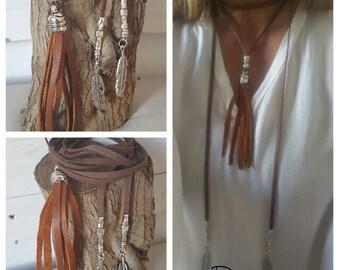 Boho endless Tassel wrap necklace