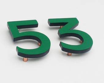 "Modern contemporary Coloured House numbers,  6""/150mm high in Antigoni font,  standoff floating in resin board g"