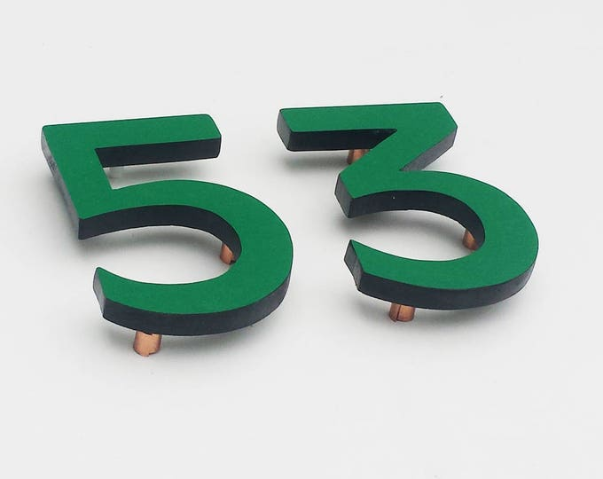 """Modern contemporary Coloured House numbers,  6""""/150mm high in Antigoni font,  standoff floating in resin board g"""