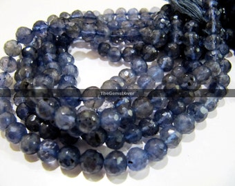 13 Inch Iolite Round Faceted Beads AAA+ Quality Stone Size 4.5mm to 5mm  Iolite Balls , Iolite Round Faceted Beads , iolite round beads