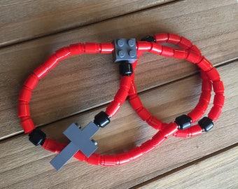 Rosary made of Lego Bricks - Red, Black & Dark Gray Catholic Rosary