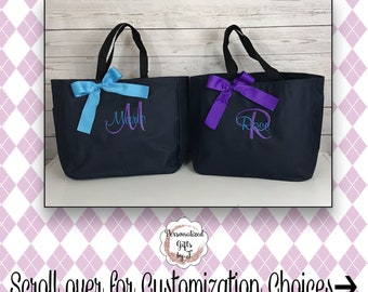 Set of 5 Bridesmaid Tote Bags, Maid of Honor Tote, Personalized Bridesmaid Bags, Bridal Party Bridesmaid Gifts, Sister Gift, Gift for her