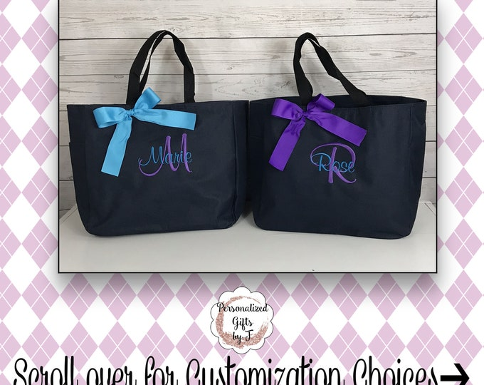 5 Personalized Bridesmaid Gift Tote Bags- Embroidered Tote - Maid of Honor Gift - Name Tote- Mother of the Bride/ Groom
