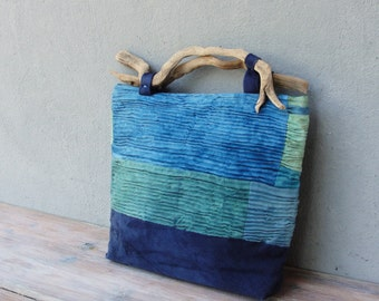Ocean Breeze Bag, Smocked Hand Dyed Linen with Driftwood Handles and Leather details