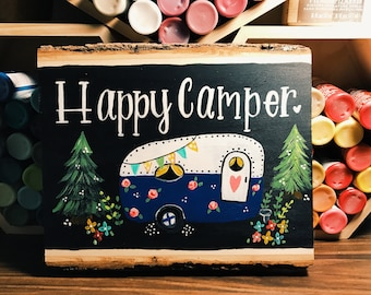 Happy Camper Sign, Wood slice Sign, Camping Decor, Camping Gifts