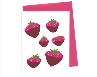 Chocolate Covered Strawberries Single Greeting Card, Lovely Blank Card, Sweet