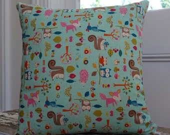 Woodland Creatures Owl Fox Squirrel Snail Cushion cover/pillow 45cm square with EST linen back