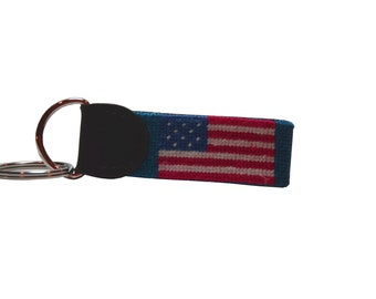 Sale-Dark Blue US flag (both sides) Key Fob