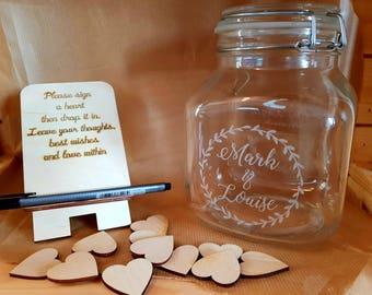 Heart Wishing Jar Wedding Alternative Guest Book message in a bottle