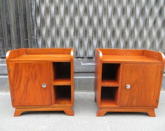 Pair of 1930 Art Deco side tables or nightstands