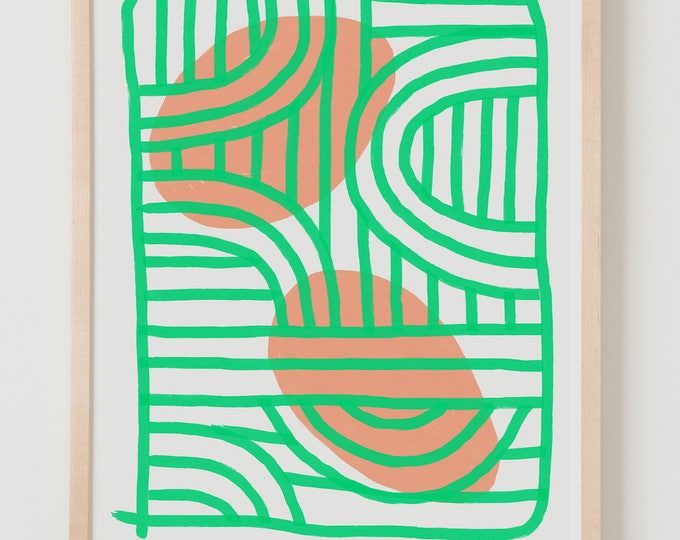 Fine Art Print.  Abstract Green and Peach, December 4, 2017.
