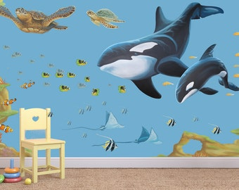 Sea life Decals, Ocean Decals, Sealife wall decals, Sea life wall stickers, Sea decal, deep sea decal, aquarium decals, whale decals, whales
