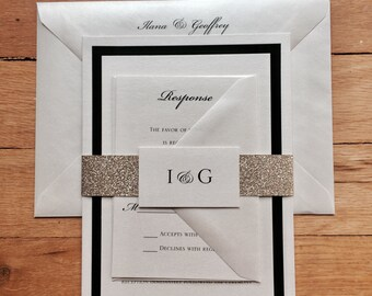 Ilana & Geoffrey// Ivory, Black and Gold Glitter Wedding invitation