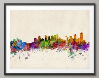 Calgary Skyline, Alberta Canada Cityscape, Art Print (542)