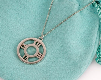 Authentic Tiffany & Co Necklace ATLAS Medallion Pendant // Round Atlas Pendant Necklace // 925 Sterling Silver // Clock Face Pendant