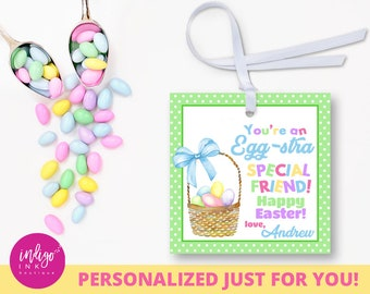 Easter tags printable easter favor tags easter gift tags happy personalized easter gift tags easter customized favor tag digital easter tags happy easter tag easter printables party favor tags negle Choice Image
