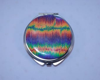 Polymer Clay Embellished Compact Purse Mirror,  Watercolor Rainbow