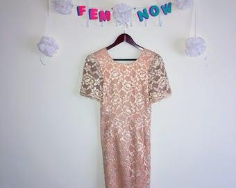 Rare Vintage 1960s Dress, Leslie Fay Evenings – Peach / Gold Evening