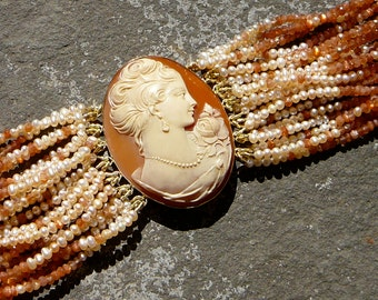 SOLD:Cameo Bracelet,Cameo Jewelry,Repurposed Cameo Brooch,Pearl Bracelet,Repurposed Brooch Bracelet,Repurposed Cameo Jewelry,Multi Strand