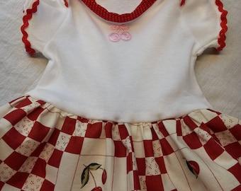 Cherries Onesie Dress  - 0-3 months