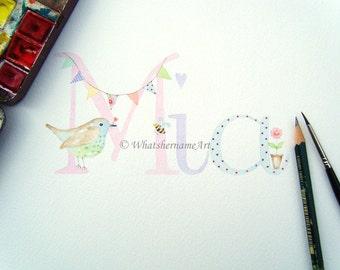 Baby Name, Original Artwork, Name Art, Custom Name Painting, Watercolour Baby Name Art, Presonalized Children's Bird Art, Baby Girl Gift.