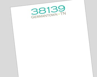 Zip Code Notepads // New Homeowner Gift // Graduate Gift // State Notepad