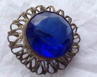 Antique silver plated glass jewel button