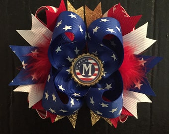Patriotic 6 Inch Over the Top Boutique Hair Bow, 4th Of July, Personalized Hair Bow, Made to Order, Free US Shipping