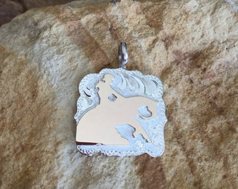 Lady Reiner Pendent/ Artisan Handmade/ Sterling Silver and 12kt goldfill