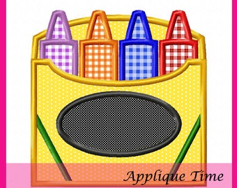 Instant Download Crayon Box Embroidery Applique Design 4x4, 5x7 and 6x10