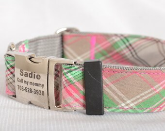 Dog Collar with Personalized Buckle, Pink check,Fabric 05