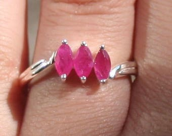 Genuine Ruby Silver Ring