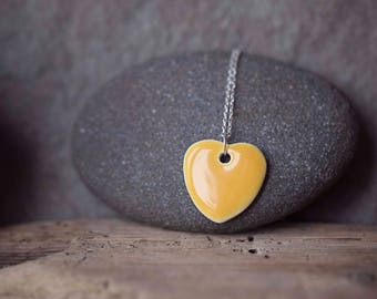 """Yellow Ceramic Heart Pendant ~ Necklace ~ Jewellery ~ Handmade ~ Sterling Silver ~ 925 ~ 18"""" Chain ~ Gifts for Her"""