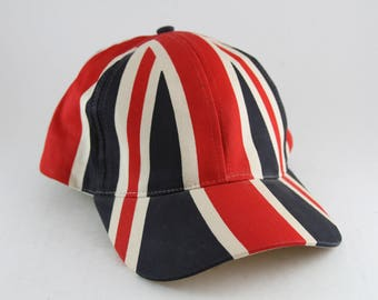 The Flag of Great Britain Dad Hat // Union Jack Baseball Cap // Red White and Blue England Union Flag Adjustable Hat