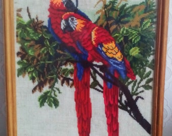 "Embroidered picture ""A couple of parrots""."