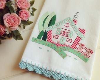 made to order- sweet cottage floursack tea towel