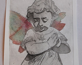 Angel Etching with Chine Colle Wings