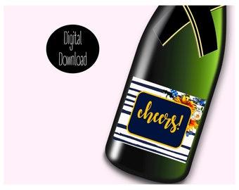 Mini Champagne Labels- Instant Digital Download