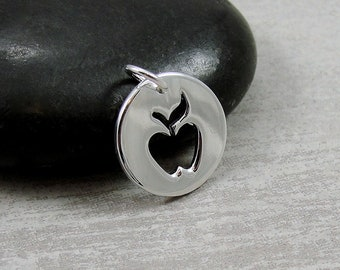 Sterling Silver Apple Charm, Apple Pendant, Apple Jewelry, Teacher's Apple Charm, Teacher Appreciation Gift, Apple Cutout Pendant