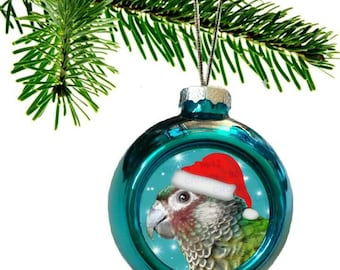Painted Conure Parrot Santa Hat Shiny Blue Christmas Bauble Ornament with Snowflake Pattern