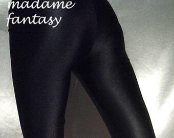 Black shiny spandex leggings