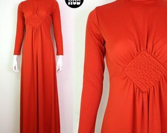 High Fashion Vintage 70s Dark Orange Ruched Diamond Long Sleeve Maxi Dress