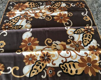 "Vintage Brown Floral Wool Crepe Square 26"" Scarf with Original Tag-brown floral scarf, brown scarf, wool crepe scarf"