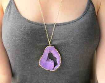 Purple Gemstone Necklace-Druzy Geode Necklace-Geode Slice Necklace-Gift for Women-Purple Druzy Geode Necklace-Raw Stone Jewelry Necklace