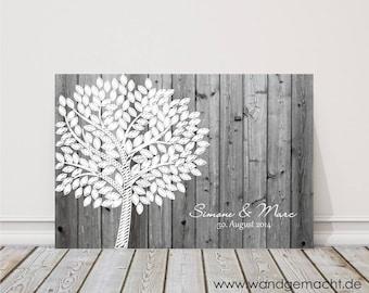 "Wedding Tree fingerprint tree Guestbook Wedding Confirmation ""Birch"" on canvas"