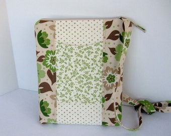 Tablet bag, crossbody, green polka dot floral, ereader bag, zipper close, inside pockets