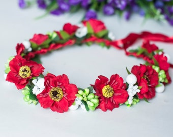"""Ukrainian Wreath Flower Headdress Head - Hair accessories """"Red Poppies"""" - Wreath with ribbons and poppies."""