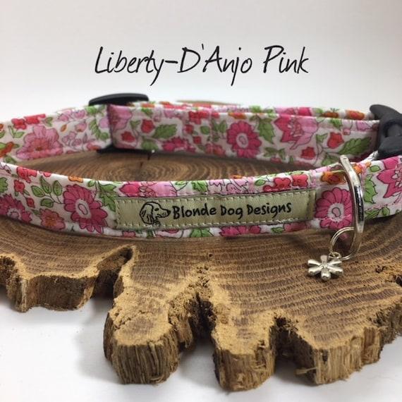 Liberty Dog Collar, D'Anjo Pink, Floral Dog Collar, Pretty Dog Collar, Pink Dog Collar, Dog Collar UK.